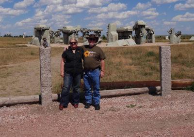 Mel, Chris & Kanga at Carhenge