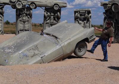 Tyre kicking Carhenge